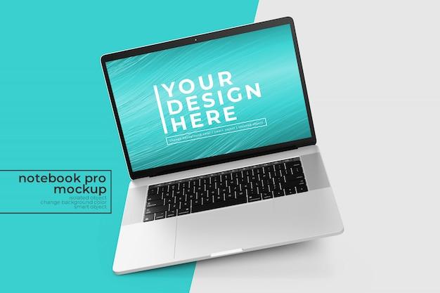 Modificabile premium facile da modificare laptop pro psd mockup s in posizione ruotata a sinistra in vista centrale