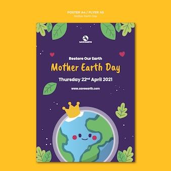 Moeder aarde dag afdruksjabloon