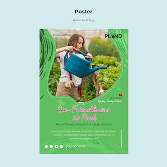 Moeder aarde dag viering verticale poster