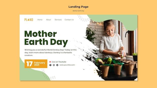 Moeder aarde dag websjabloon met foto