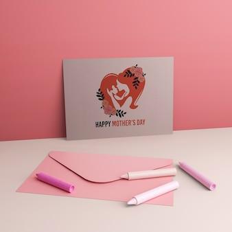 Moederdag viering kaart en envelop met mock-up