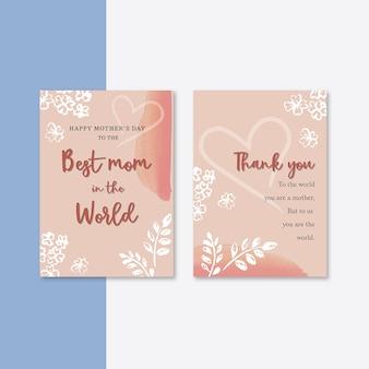 Moederdagkaart met elegante bloemen