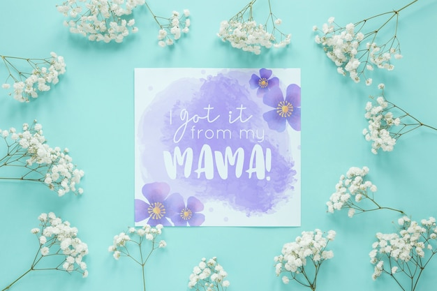Moedersdag kaartmodel met bloemen