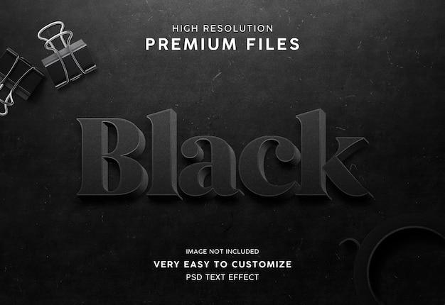Mokcup de efecto de texto 3d negro