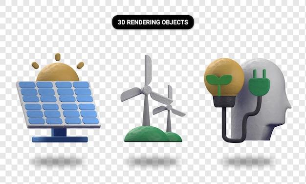 Molino de viento de energía solar de renderizado 3d y pensar en verde