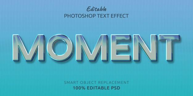 Momento de efecto de estilo de texto psd editable