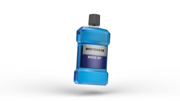 Mondwater mockup 3d render verpakkingsontwerp