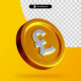 Moneda de libra de oro renderizado 3d aislado