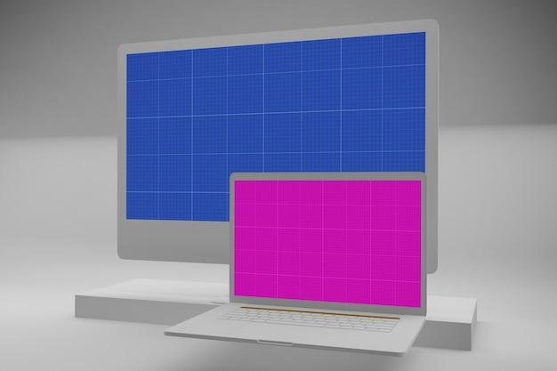 Monitor de computadora con pantalla de maqueta, computadora de escritorio y computadora portátil