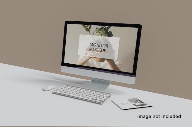 Monitor digitaal desktopmagazine mockup premium