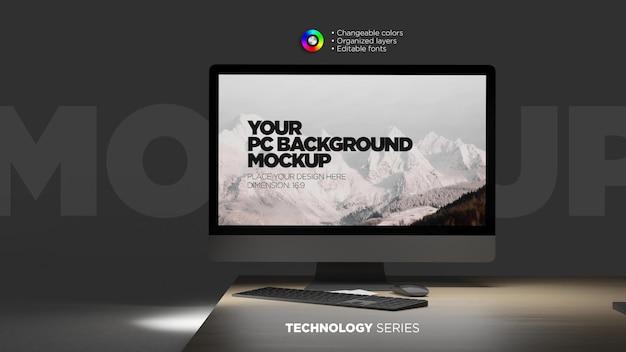 Monitorschermmodel in scène met toetsenbord en muis