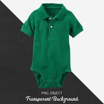 Mono de polo verde para bebé o niños sobre fondo transparente.