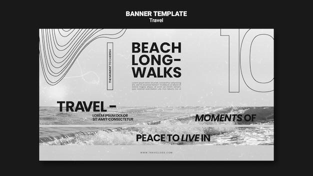 Monochromatisch horizontaal bannermalplaatje voor het ontspannen van lange strandwandelingen