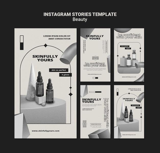 Monochromatische huidverzorging sociale media verhalen