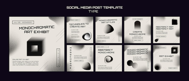 Monochrome kunst social media posts