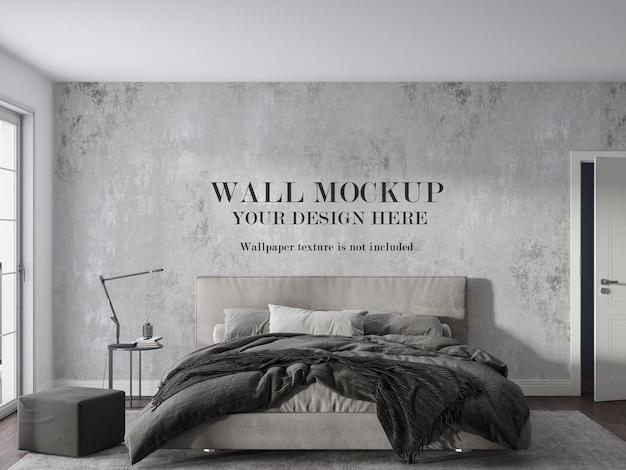 Monotone slaapkamer met mockup-ontwerp aan de muur