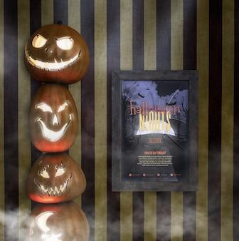 Montón de calabazas talladas y maqueta de marco de noches de halloween
