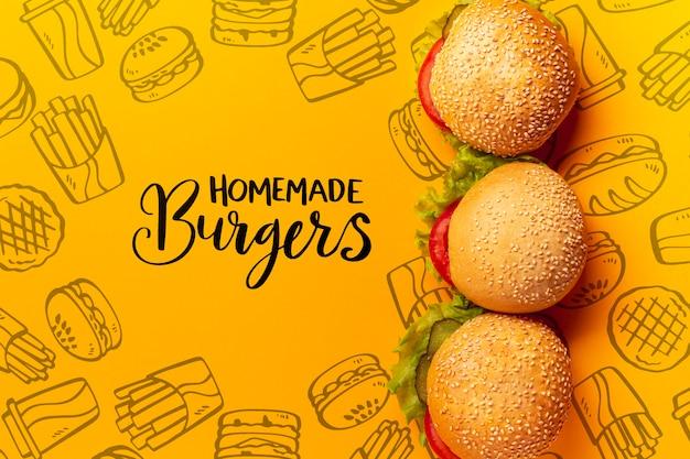Montón de hamburguesas en comida rápida doodle fondo