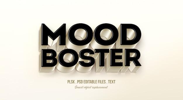 Mood boster maqueta de efecto de estilo de texto en 3d