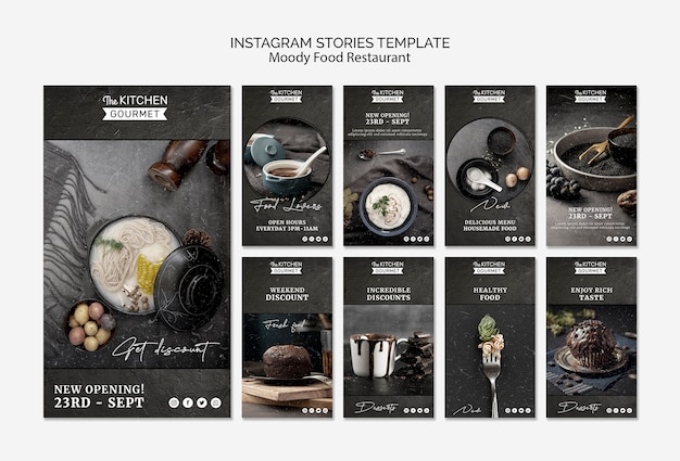 Mood-food ristorante instagram storie concetto mock-up