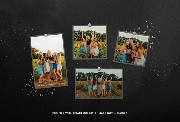 Moodboard collage mockup met inktspatten