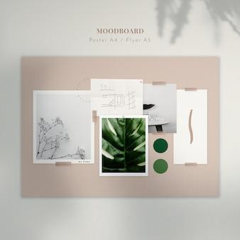 Moodboard con piante e schizzo