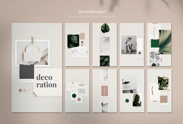 Moodboard con decoraciones para el hogar
