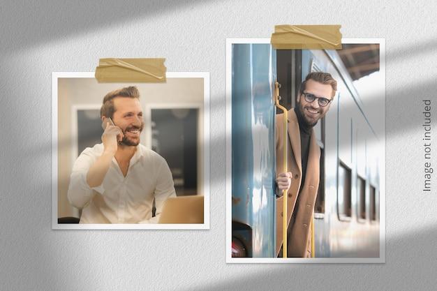 Moodboard-mockup hangend aan de muur met schaduwoverlay