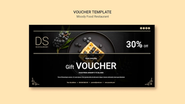 Moody eten restaurant voucher sjabloon