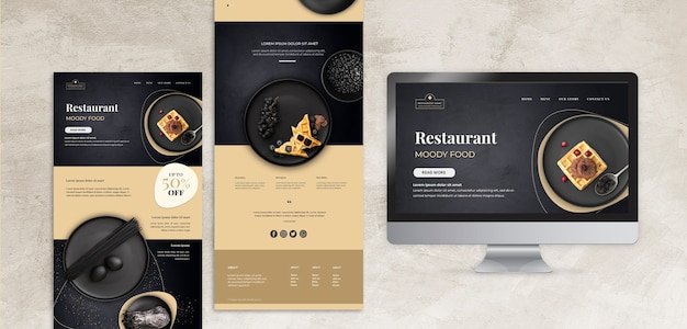 Moody food restaurant concept mock-up