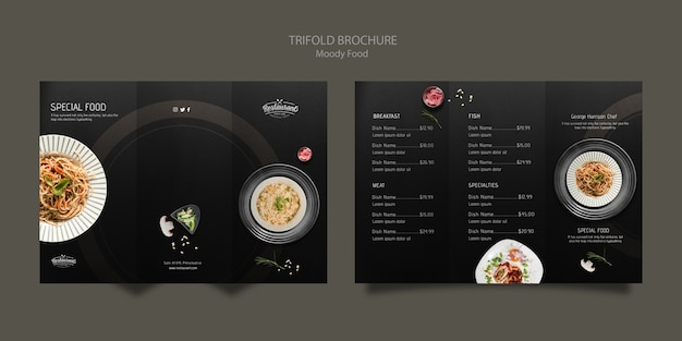 Moody food restaurant driebladige brochure concept mock-up