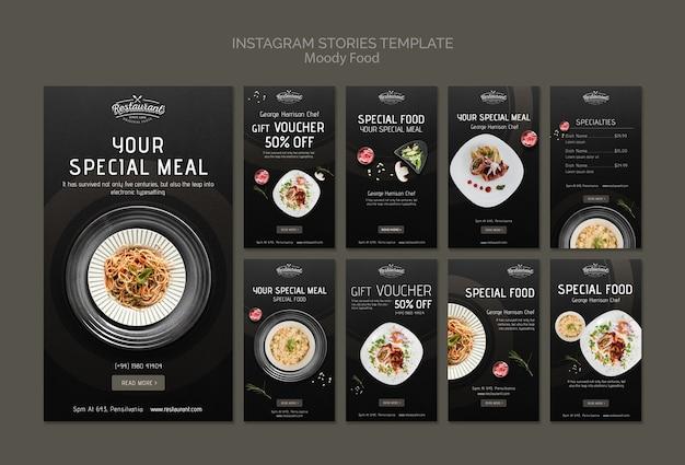 Moody food restaurant maqueta de concepto de plantilla de historias de instagram