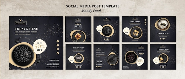 Moody food restaurant maqueta de concepto de plantilla de publicación en redes sociales