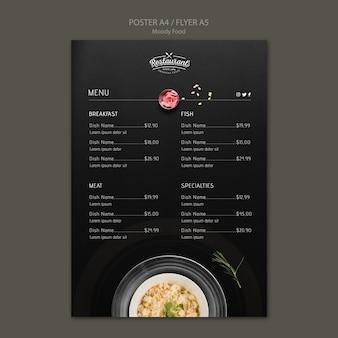Moody food restaurant poster concept maqueta