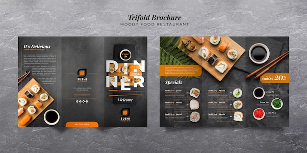Moody food restaurant trifold brochure