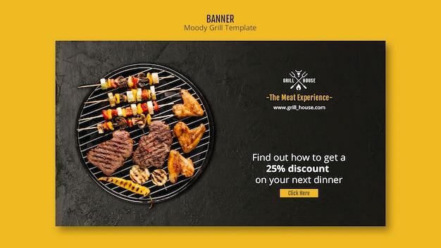 Moody grill sjabloon voor spandoek