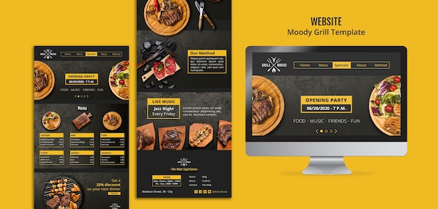 Moody grill website sjabloon