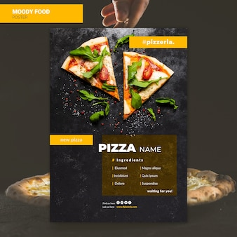 Moody restaurant eten poster mock-up