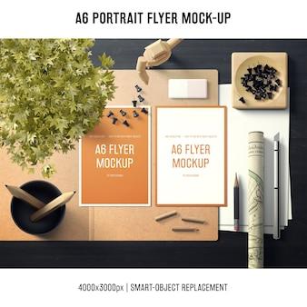 Mooi a6 flyer-mock-up voor portretten