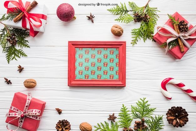 Mooi frame mockup met kerst ontwerp