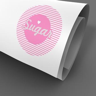 Mooi gekruld pagina-logo met showcase-model