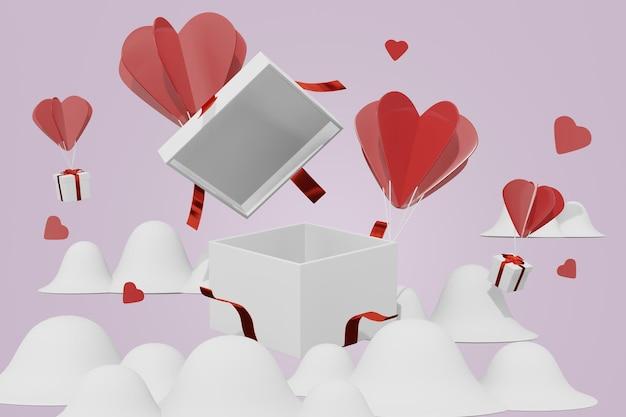 Mooi gelukkig valentijnsdag geschenk achtergrond concept in 3d-model mockup