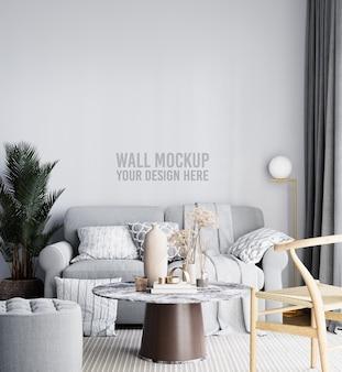 Mooi interieur woonkamer muur mockup