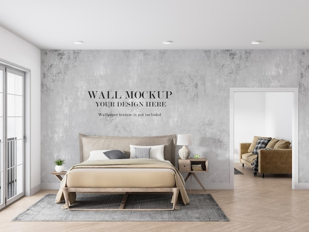 Mooi licht mockup-ontwerp voor de slaapkamermuur