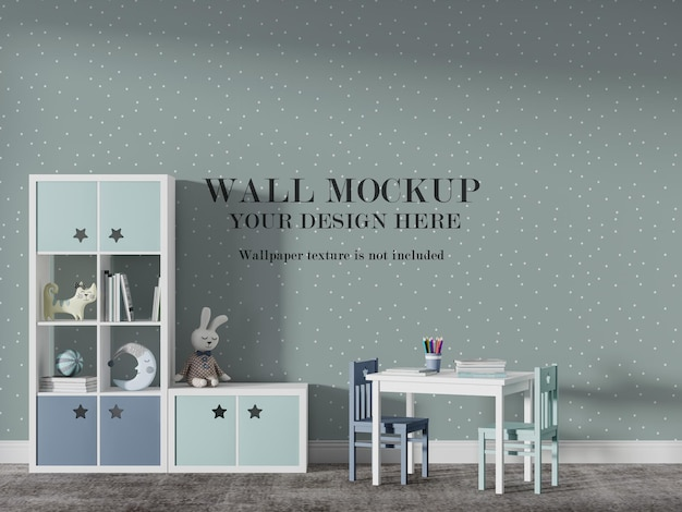 Mooi mockup-ontwerp voor speelschoolmuren