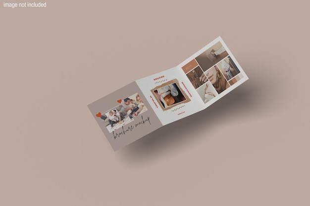 Mooi tri-fold square magazine mockup design