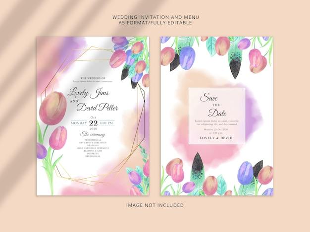 Mooie aquarel bloemen bruiloft uitnodiging psd-sjabloon