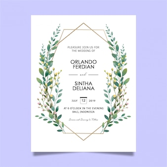 Mooie blad frame bruiloft uitnodiging sjablonen