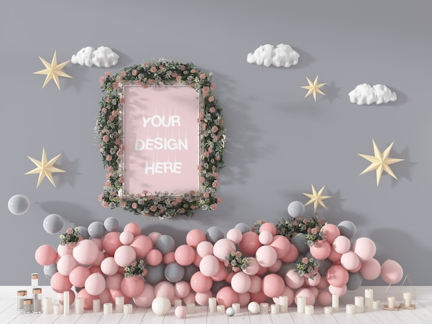 Mooie bloemenlijst versierd met ballons en kaarsen