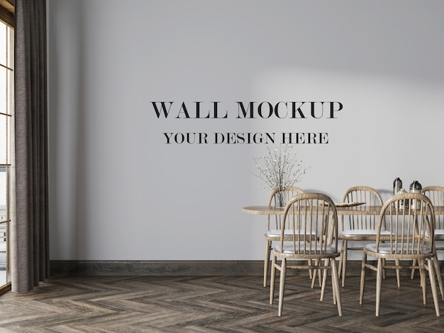 Mooie eetkamer lege muur mockup